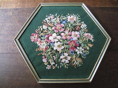 Hand embroidered framed floral tapestry picture