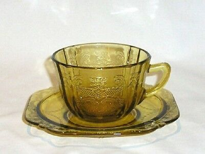 Indiana Glass RECOLLECTION Amber Cup & Saucer