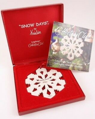 Longaberger Snow Days 2000 Kaitlin Snowflake Ornament MIB