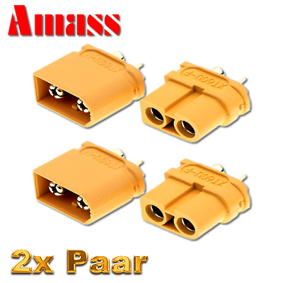 2 Paar 4 Stück Original Amass Goldstecker XT60U XT60 Male Female 65A Lipo Akku