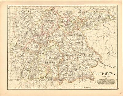 1887 Large Antique Map- Johnston, Empire of Germany, Southern Portion