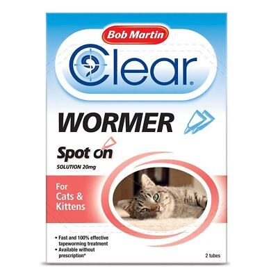Bob Martin Clear Spot on WORMER for Cat & Kitten over 1kg 2 Pack Worms Treatment