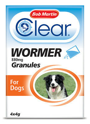 Bob Martin Pet Roundworms CLEAR WORMER 4 x 4g Granules for Dogs - Weaned Puppies