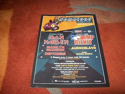DOWNLOAD FESTIVAL 2003 full page advert.. maiden, limp bizkit, deftones etc