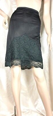 """Vtg Black Sheer And Silky Half Slip With Lots Of Lace Sz M/l Waist 26"""" To 42"""""""