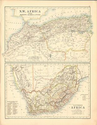 1887 Large Antique Map- Johnston, N W Africa, Southern Africa, 2 maps