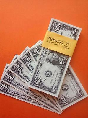 100 x $1000 BILLS. Fun/Play/Fake Money/Dollars/Party/Casino/Stag/Hen/Decorations