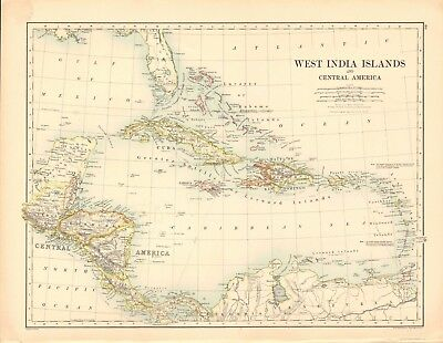 1887 Large Antique Map- Johnston, West India Islands and Central America