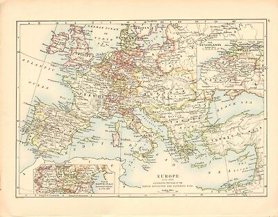 1887 Large Antique Map- Johnston, Europe 1715 - 1815