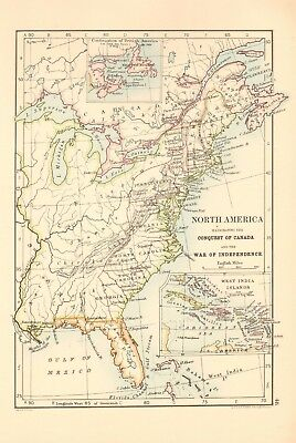 1887 Antique Map- Johnston, North America Illustrating the Conquest of Canada an