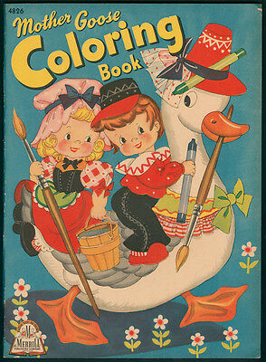 """UNCOLORED """"Mother Goose Coloring Book"""" #4826 Merrill 1943 (4394)"""