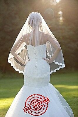 Fingertip Wedding Veils Comb Lace One Layer And Soft Tulle Elbow White Veil