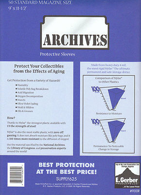 """250 MAGAZINE MYLAR 4 MIL GERBER ARCHIVES 900R Comic Book Sleeves BAGS  9"""" WIDE"""