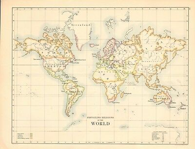 1887 Large Antique Map- Johnston, Prevailing Religions of the World