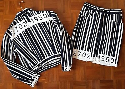 Moschino Vintage Set Jacket + Skirt Barcode Codice Barre Rare Birthday Franco