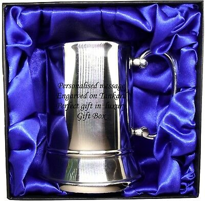 Steel tankard in Luxury Gift Box with blue satin Personalised  Christmas Gift
