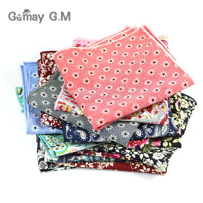 High Quality Hankerchief Scarves Vintage Hankies Floral print Men's Pocket
