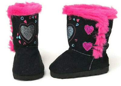 "Black Boot Shoes with Glitter Hearts made for 18/"" American Girl Doll Clothes"