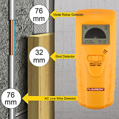 Floureon 3 in 1 Metal Rebar AC Live Wire Stud Wood Detector Wall Finder Scanner