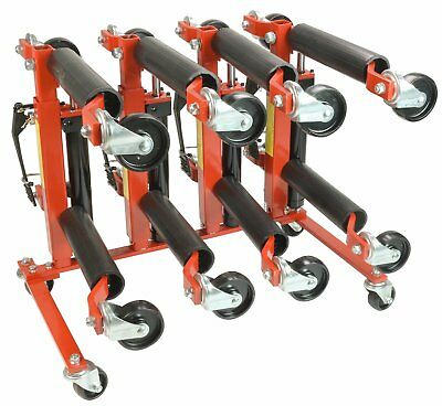 "(4) Dragway Tools® 12"" Hydraulic Wheel Dolly 1500 lb Foot Pump Jack Lift & Stand"