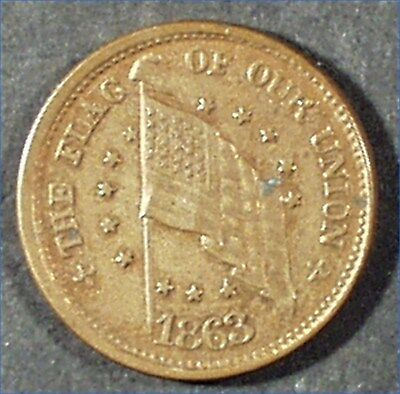 Civil War Token 1863 The Flag Or Our Union, Army & Navy