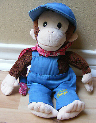 CURIOUS GEORGE Plush Monkey Cap Denim Overalls Train Engineer Conductor