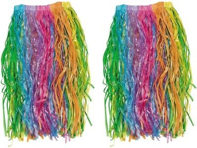 Pair Of 2 Tropical Rainbow Colored Luau Hula Party Skirts - Multi-Color - by FX