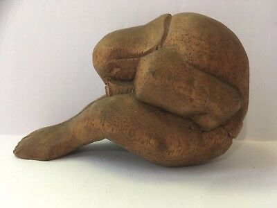 Small Hand Carved Statue - Sitting Figure with Head in Hands 2.5 Inches Tall