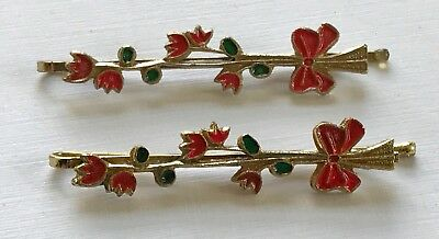 Vintage Hair Pins - Pair of Red Flower and Bow Bobby Pins