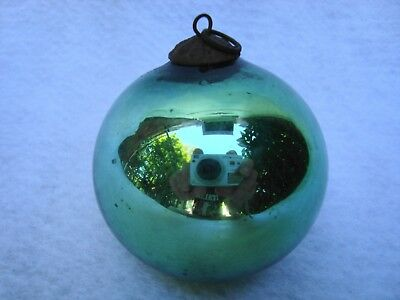 Rare Antique German Green Kugel Christmas Ornament!