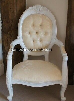 Louis French Style Large White & Cream Diamond  Chair Ornate Throne Free Deliver