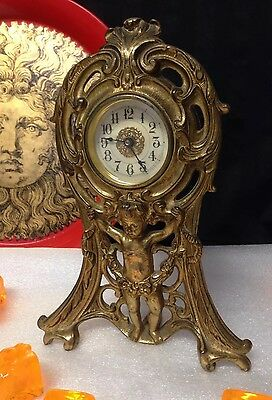 Rare Antique Clock Westclox Usa 1906 Edwardian Sculpture Gilt Cast Metal