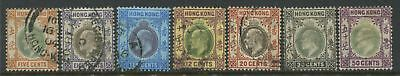 Hong Kong KEVII 1903 8 cents to 50 cents used