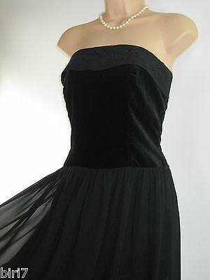 Laura Ashley Vintage Black Velvet & Silk Beauty Cocktail / Party Dress,10/12