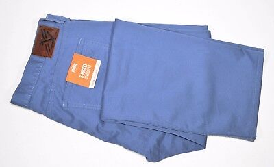 New Mens Dockers 5 Pocket Straight Fit Khakis Flat Front Pants Chinos Blue 36x32
