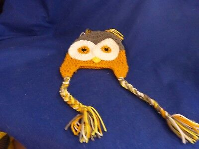 Handmade Knit Owl Hat  (older child, small adult)