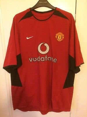 2002/2004 Manchester United home football shirt Nike large men's Vodafone