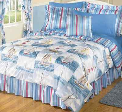 Blue Lighthouse Sea Breeze Boat Sailboat Nautical Bed in a Bag Set Queen