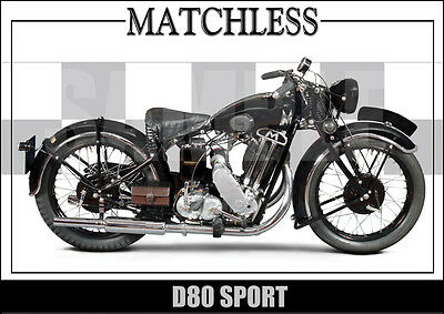 Matchless D80 Sport (1934) Laminated Motorcycle Print /  Motorcycle Poster