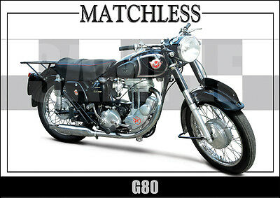 Matchless G80 (1955) Laminated Motorcycle Print /  Motorcycle Poster