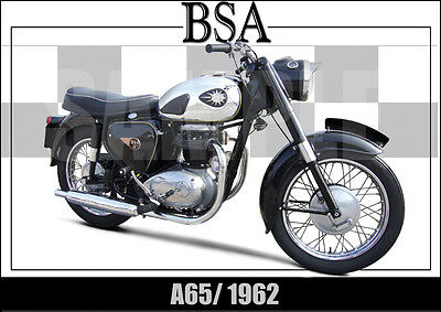 Bsa A65 (1962) Laminated Classic Motorcycle Print /  Poster