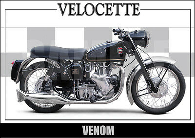 Velocette Venom (1961) Laminated Motorcycle Print /  Motorcycle Poster