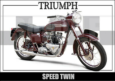 Triumph Speed Twin (1955) Laminated Motorcycle Print /  Motorcycle Poster