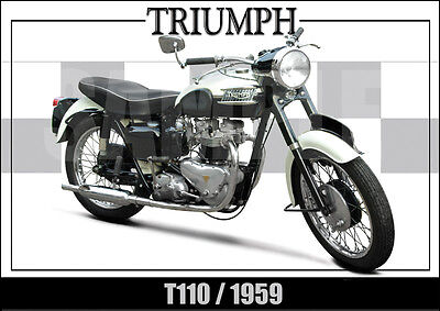 Triumph T110 (1959) Laminated Motorcycle Print /  Motorcycle Poster