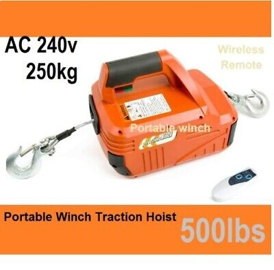 New 250kg 500lbsTraction Block Portable Winch Traction Hoist / Remote Control