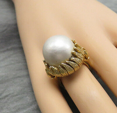 Vendome Vintage 1960's Cocktail Statement Ring Baroque Pearl Size 6 Gold 934f