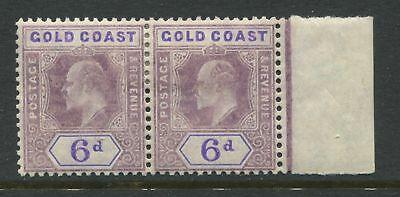 Gold Coast KEVII 1908 6d pair on chalky paper mint o.g.