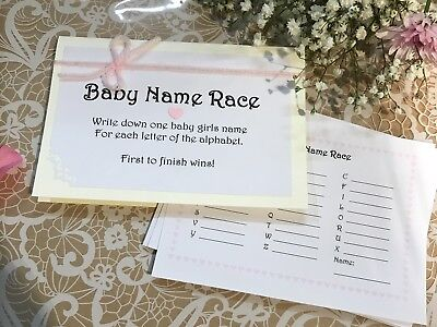 Baby Shower Game : Baby Name Race GIRL BOY Floral fun sweet party