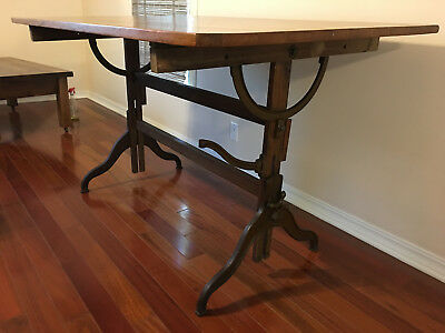 Antique Dietzgen Drafting Table Cast Iron and Wood