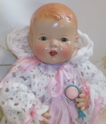 "1930's Ideal Doll co. SNOOZIE yawning rare compo & cloth Baby 20"" biggest size"